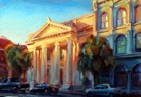 Michael Downs Sunset on Broad Street 14.5x20.5 Charleston