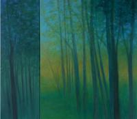 """Transpire"" 60"" X 68"" Oil on Canvas Diptych"
