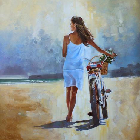 Girl On Bicycle Fold Art Painting